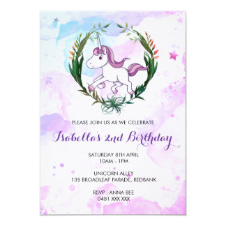 Watercolor unicorn birthday girl invitation