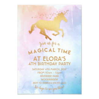 Watercolor Unicorn Birthday Invitation Whimsical