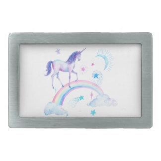 Watercolor unicorn over the rainbow belt buckles
