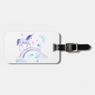 Watercolor unicorn over the rainbow luggage tag