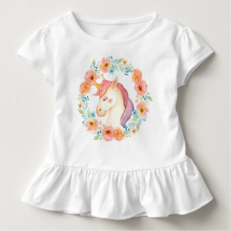 Watercolor Unicorn Wreath Ruffled Shirt
