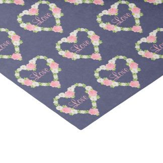 Watercolor Valentine Heart Floral Wreaths Tissue Paper