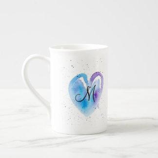 Watercolor Valentine Heart Monogram Tea Cup