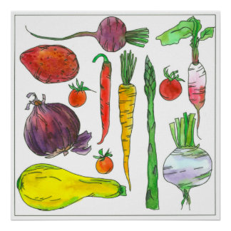 Watercolor Vegetables Carrots Beets Asparagus Poster