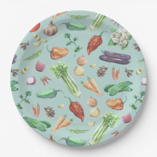 Watercolor Veggies & Spices Pattern Paper Plate