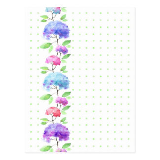 Watercolor vertical seamless pattern border postcard
