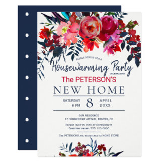 Watercolor vibrant red floral housewarming party card