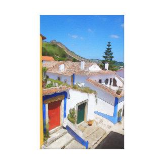 Watercolor village canvas print