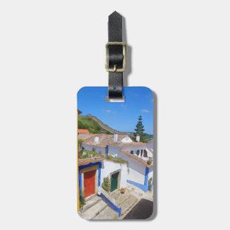 Watercolor village luggage tag