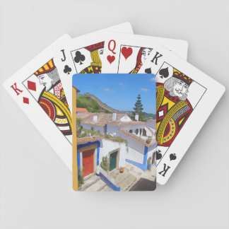 Watercolor village playing cards
