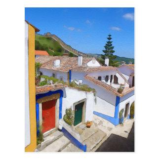 Watercolor village postcard