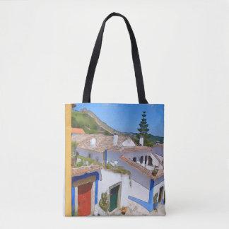 Watercolor village tote bag