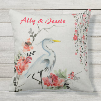 Watercolor Vintage Crane Peonies Oriental Floral Throw Pillow