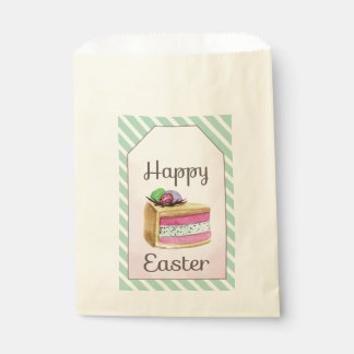 Watercolor vintage Happy Easter cake slice Favour Bags