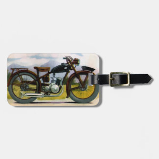 Watercolor Vintage Motorcycle Luggage Tag