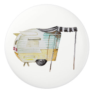 Watercolor Vintage Retro Camper Knob Pull v. 4