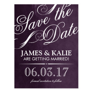 Watercolor Vintage Script Save the Date Postcard