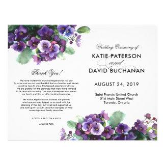 Watercolor viola flower wedding program flyer