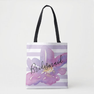 Watercolor Violet Lavender Floral Bridesmaid Tote Bag