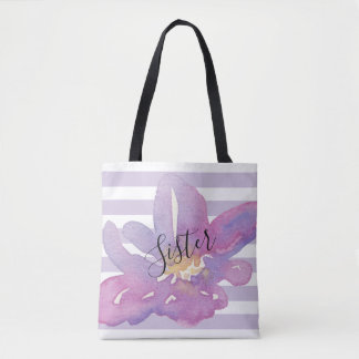 Watercolor Violet Lavender Floral Custom Recipient Tote Bag