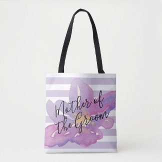 Watercolor Violet Lavender Floral Mother of Groom Tote Bag