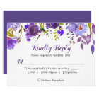Watercolor Violet Purple Floral Wedding RSVP Reply Card