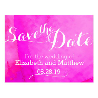 Watercolor wash painted pink save the date card postcard