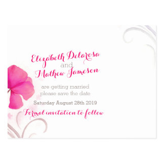 Watercolor wash red pink save the date card postcard