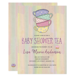 Watercolor washed multicolor cups baby shower tea card