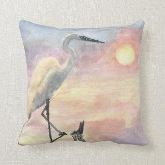 watercolor water crane pillow