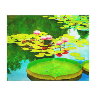 Watercolor waterlily reflections canvas print