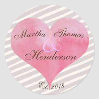Watercolor Watermelon Pink Heart with Stripes Classic Round Sticker
