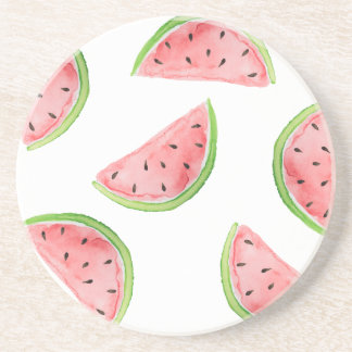 watercolor watermelon slices coaster