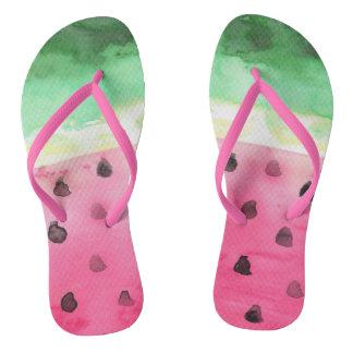 Watercolor Watermelon Thongs