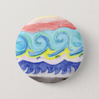 Watercolor Waves 6 Cm Round Badge