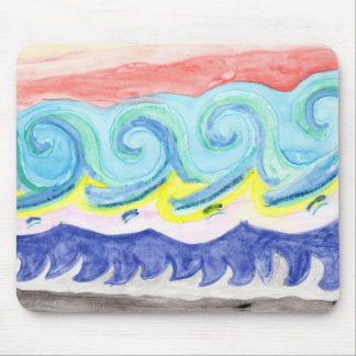 Watercolor Waves Mouse Pad