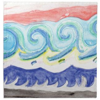 Watercolor Waves Napkin