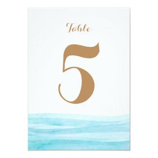 Watercolor Waves Ocean Beach Table Number Card