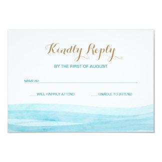Watercolor Waves Ocean Beach Wedding Response Card