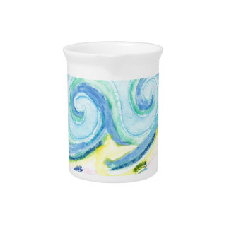 Watercolor Waves Pitcher
