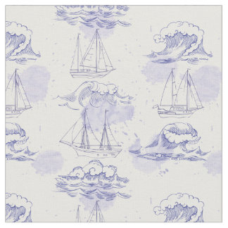 Watercolor Waves & Ships Pattern 2 Fabric