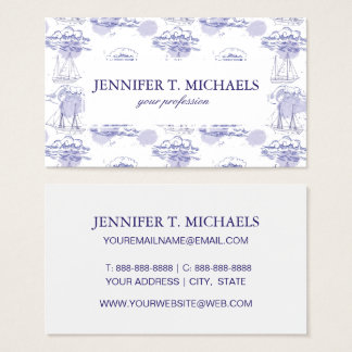 Watercolor Waves & Ships Pattern Business Card