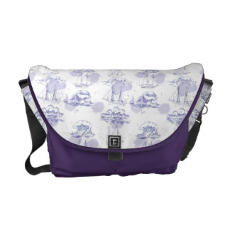 Watercolor Waves & Ships Pattern Courier Bags