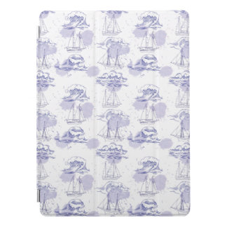 Watercolor Waves & Ships Pattern iPad Pro Cover