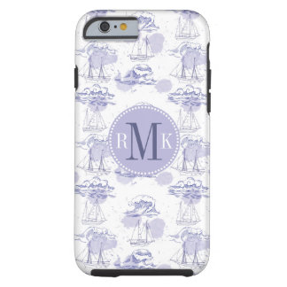 Watercolor Waves & Ships Pattern Tough iPhone 6 Case
