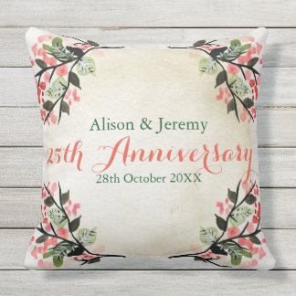 Watercolor Wedding Anniversary Botanical Coral Outdoor Cushion