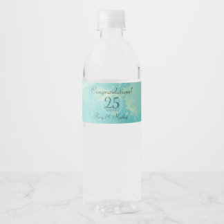 Watercolor Wedding Anniversary Water Bottle Label