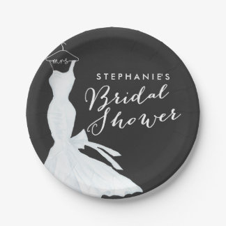 Watercolor Wedding Gown Chalkboard | Bridal Shower 7 Inch Paper Plate