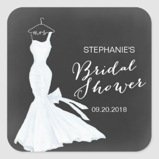 Watercolor Wedding Gown Chalkboard | Bridal Shower Square Sticker