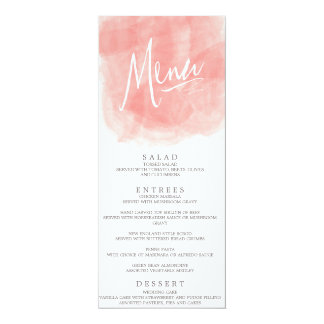 Watercolor Wedding Menu Card 10 Cm X 24 Cm Invitation Card